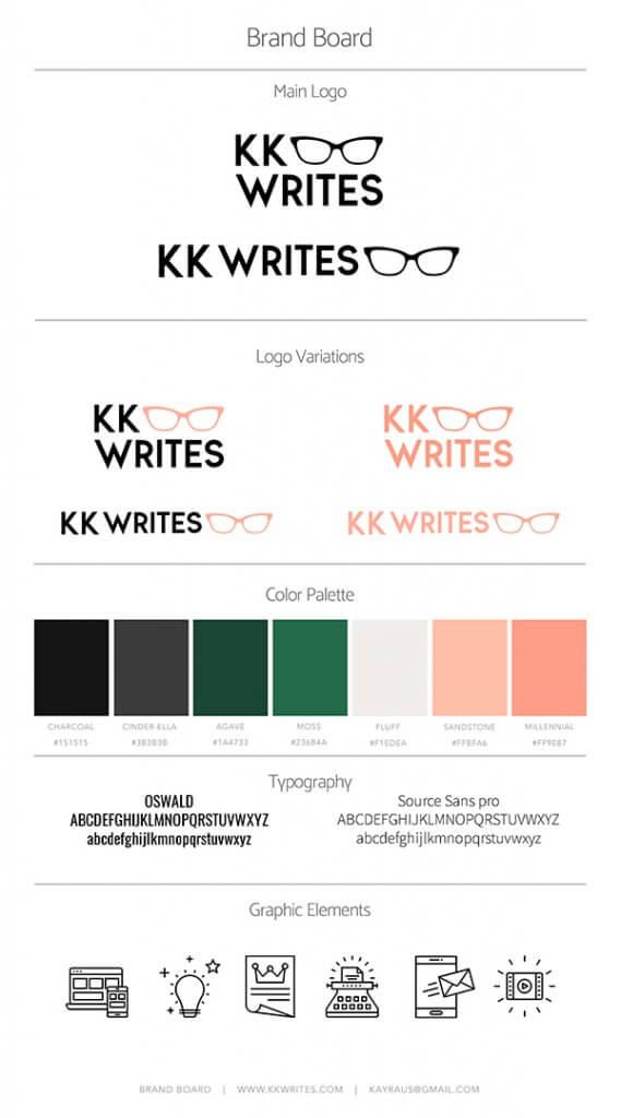 KK WRITES Brand Board