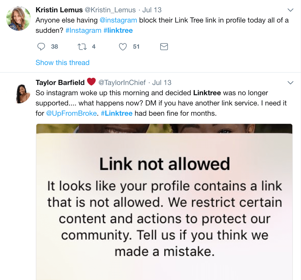 Twitter Linktree links marked as spam