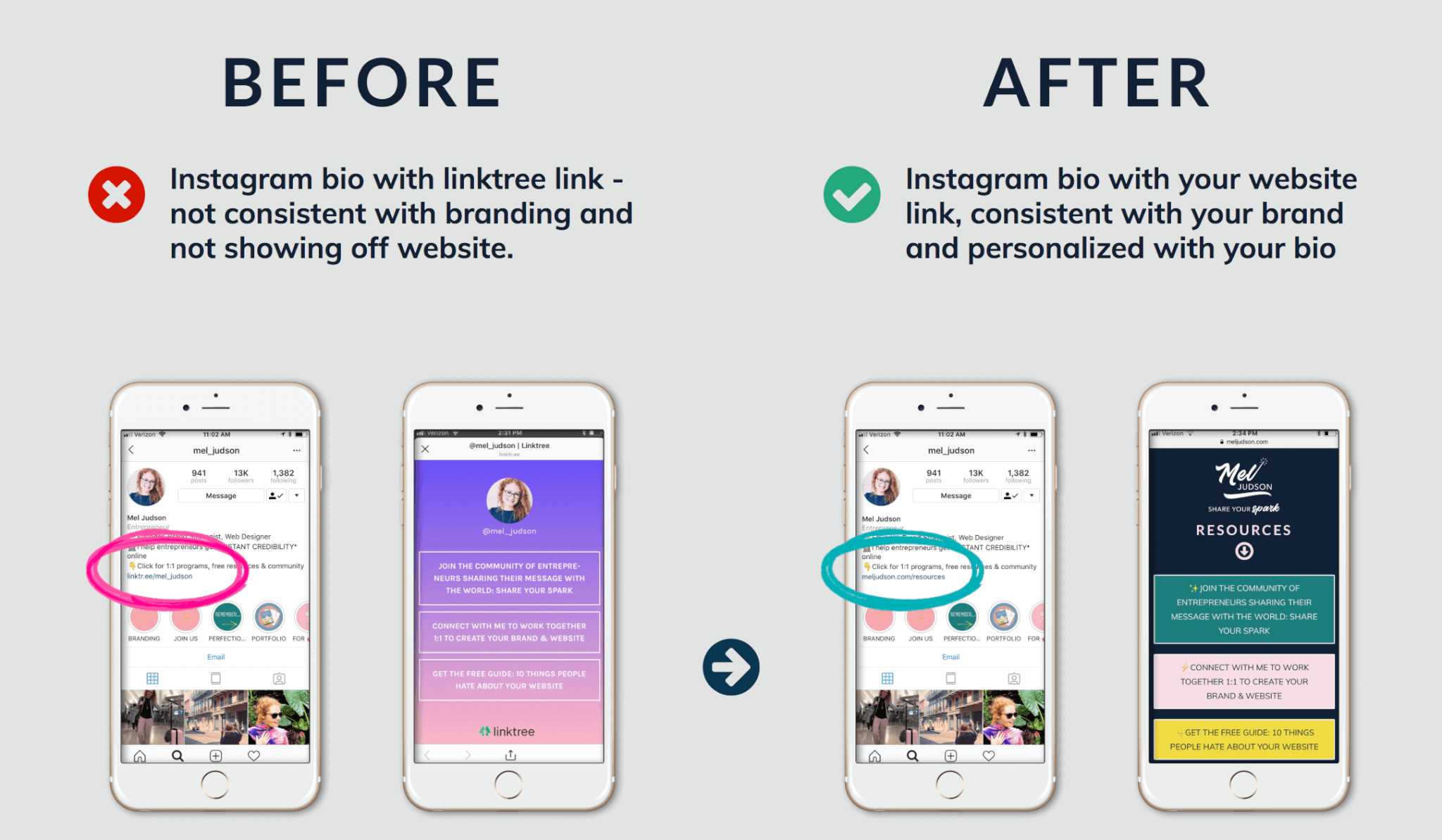 Instagram Bio before linktree and after with custom landing page
