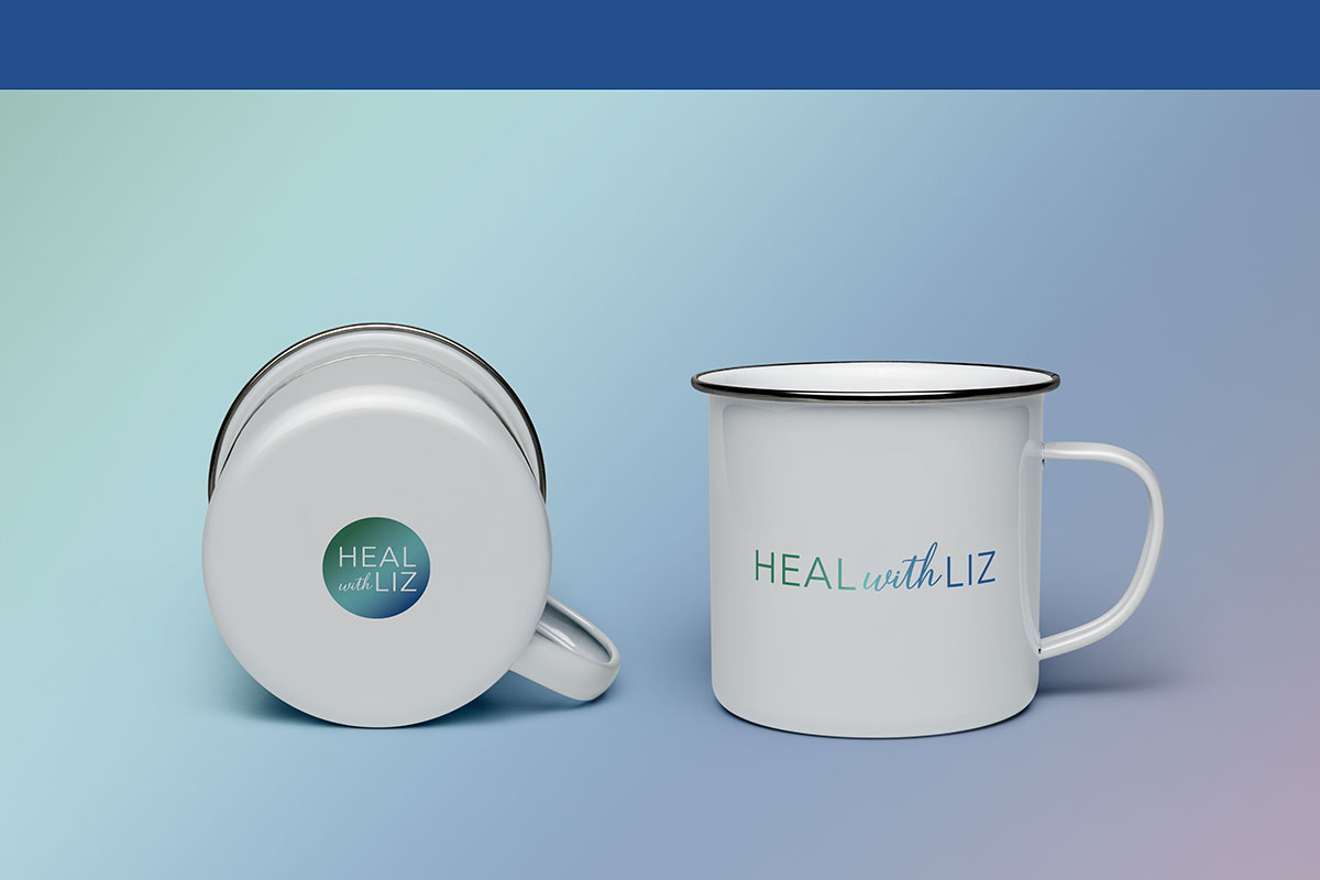 Heal with Liz Enamel Mug Designed by Mel Judson Branding & Web Design