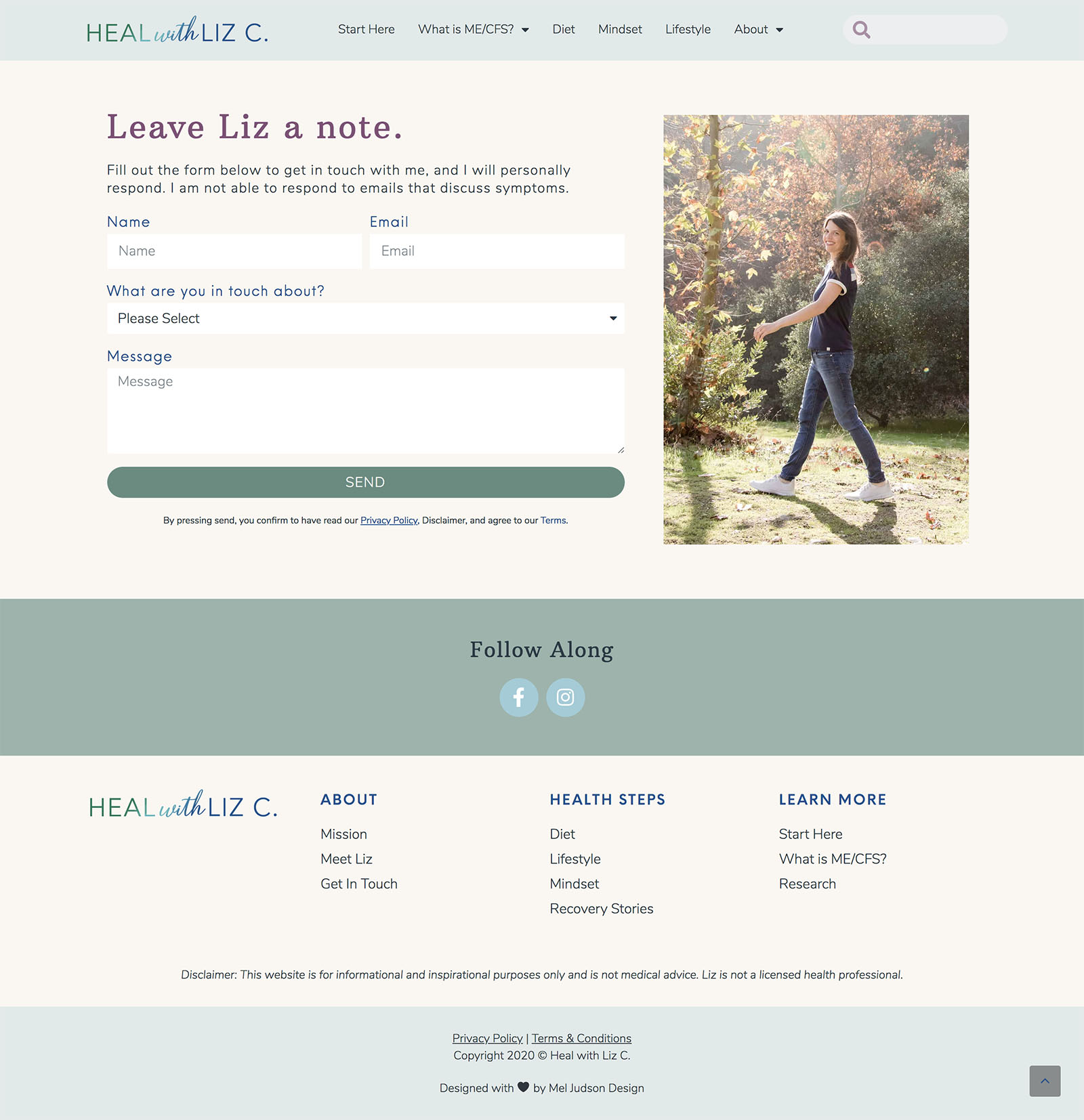 Heal with Liz Website Design Contact Page Design by Mel Judson Branding and Web Design