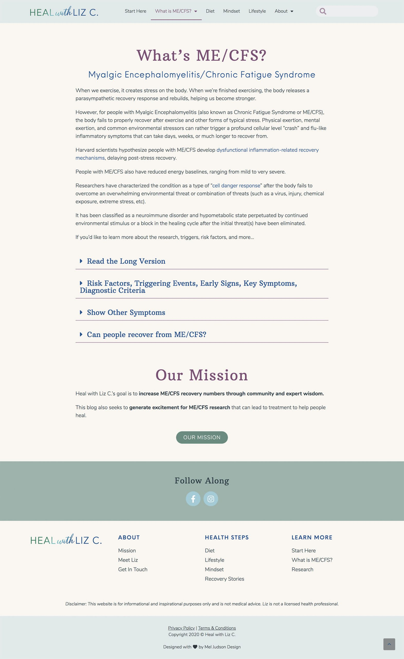 Heal with Liz Website Design What is ME/CFS Page Design by Mel Judson Branding and Web Design