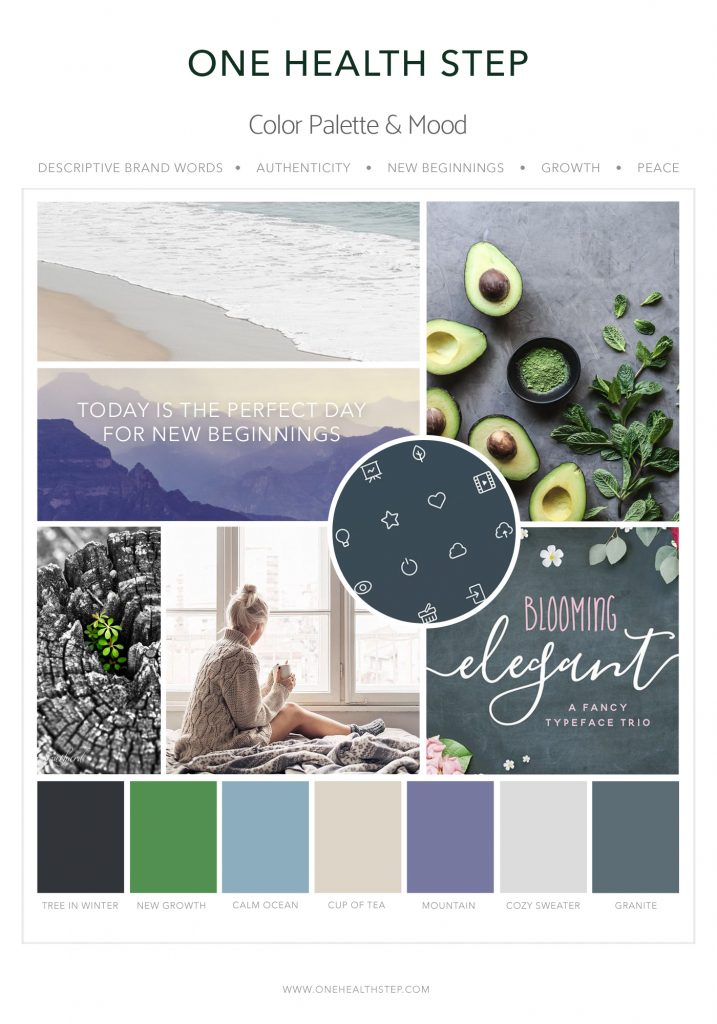 Heal with Liz Mood Board 1 Designed by Mel Judson Branding & Web Design